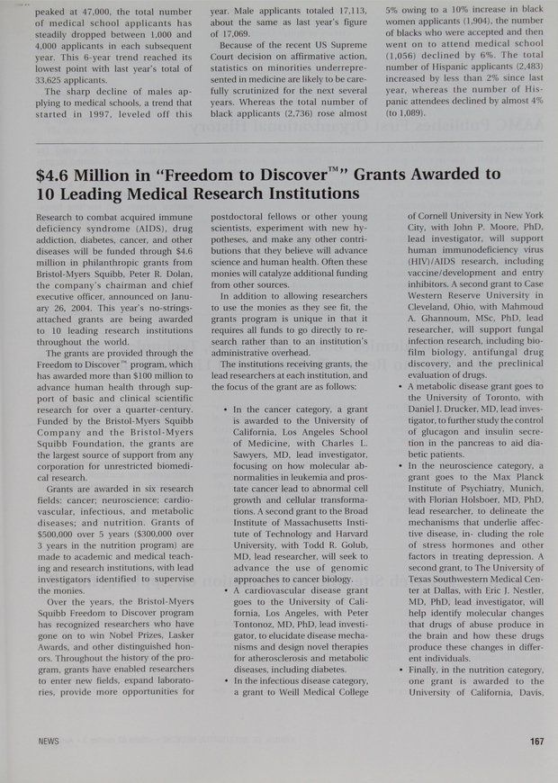 """$4 6 Million in """"Freedom to DiscoverTM"""" Grants Awarded to 10 Leading"""